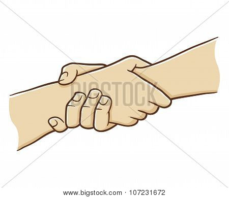 Two Hand Holding Each Other With Strong Grip