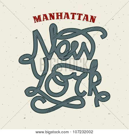 New York lettering print template