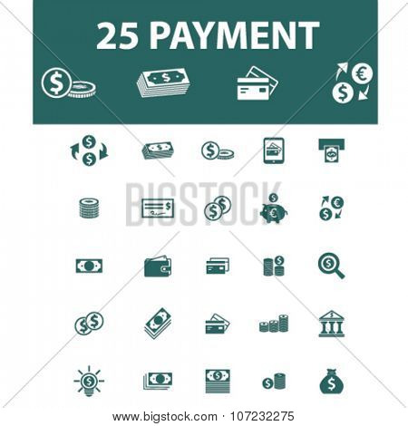 payment, money, banking  icons, signs vector concept set for infographics, mobile, website, application