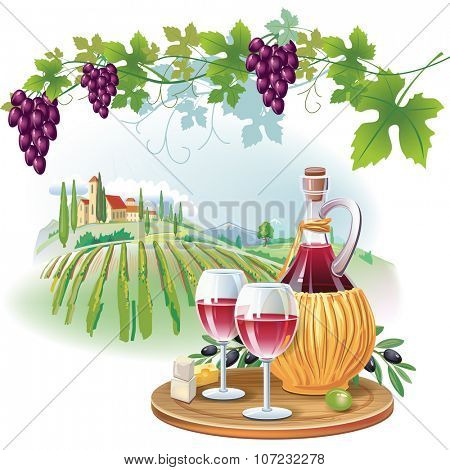 Wine glasses, bottle and ripe grapes in vineyard