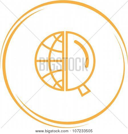 globe and magnifying glass. Internet button. Vector icon.