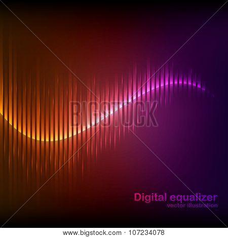 Colorful orange-purple digital shining equalizer