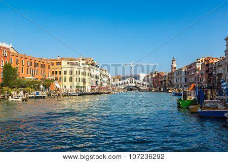 Gondola At The Rialto Bridge In Venice