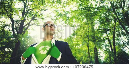 Conservative Businessman Recycle Ecology Saving Concept