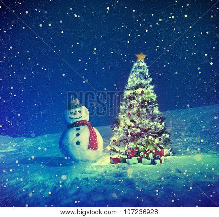 Christmas Tree Snowman Outdoor Concept