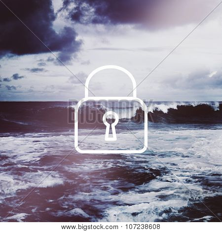 Padlock Network Security System Password Privacy Concept