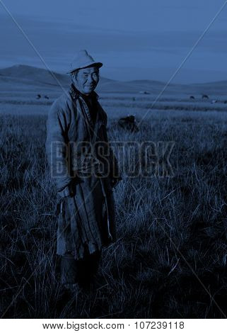 Mongolian Milking Man Standing Scenic View Field Concept