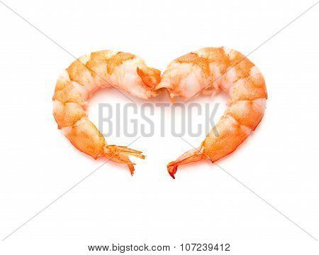 Heart Shape Shrimps On A White Background