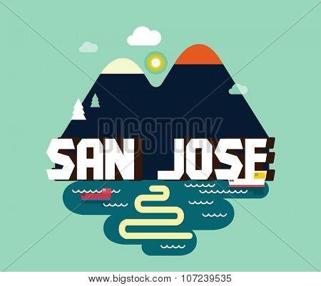 San Jose in colourful poster design.