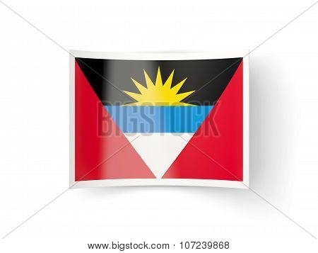 Bent Icon With Flag Of Antigua And Barbuda