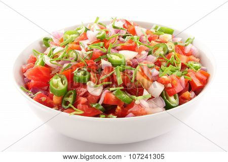 Homemade sizzling salsa in bowl.