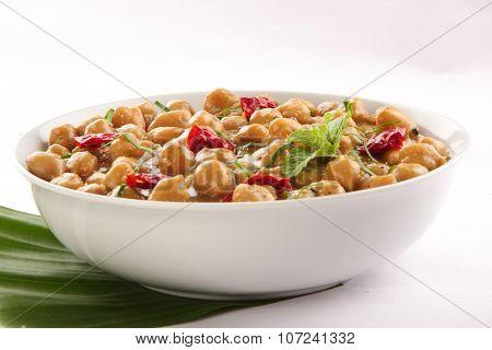 Tasty vegetarian chana masala curry dish