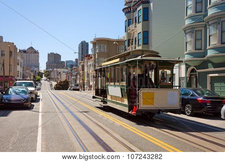 Hyde street view and San Francisco tram in summer