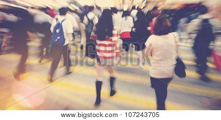 Crowd People Commuter Crosswalk Hurrying Concept