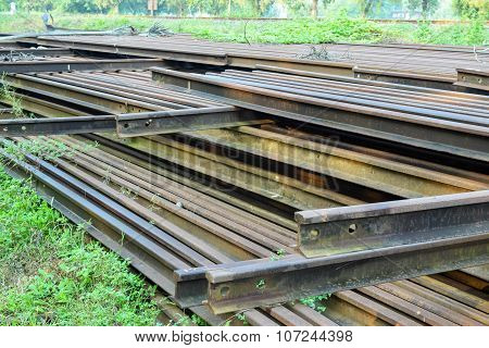 pile of old rusty railroad
