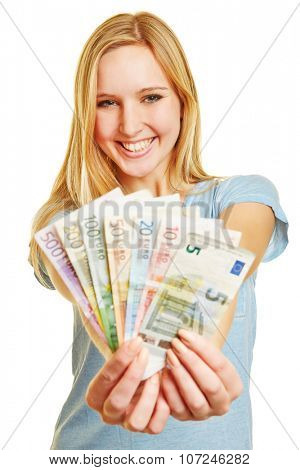 Young blonde woman with Euro money fan in her hands