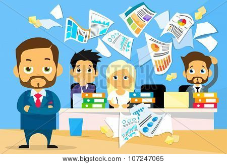 Business People Conflict Problem, Boss Team Working Throw Papers