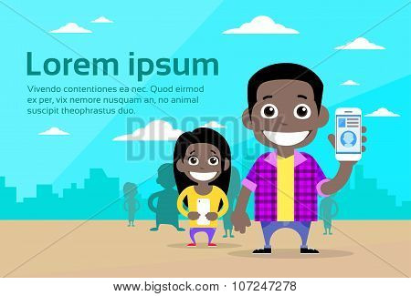 Casual Man and Woman Cartoon Couple African American Race