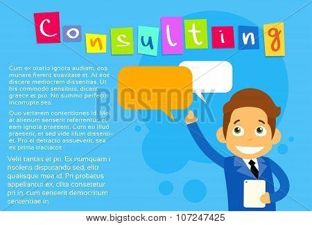 Businessman Cartoon Character Using Cell Smart Phone Message