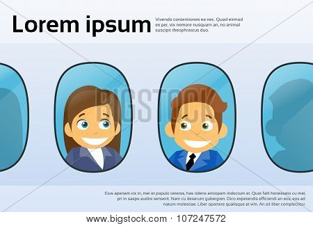 Aircraft Windows Cartoon Business People Man Woman, Airplane Flight