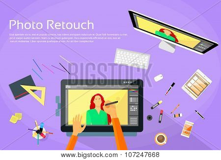 Graphic Designer Professional Tablet Drawing Photographer Portrait Photo Retouch Workspace Desk Comp