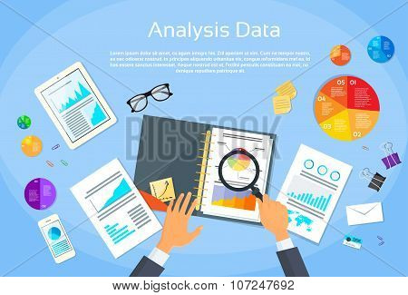 Finance Diagram Documents Desk Analysis Businessman Hand with Magnifying Glass Financial Business Gr