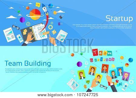 Start Up Concept Businessman Hands Desk New Business