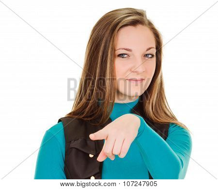 young woman pointing by indicating finger