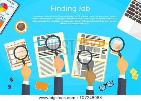 Business Peope Hands Searching Job Newspaper Classified Magnifying Glass Office Desk