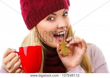Smiling Woman In Woolen Cap And Shawl With Gingerbread Cookies And Tea, White Background, Christmas