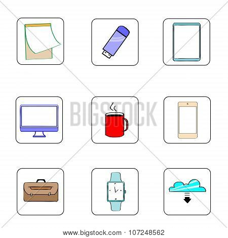 Business Icons Set Thin Line Simple Colorful Collection