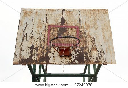 Basketball Iron Board, Backboard, Dirty, Grunge, Old On White Background, Isolated