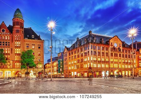 Amsterdam, Netherlands - September 15, 2015: Beautiful Amsterdam, Centre Of  Dam Square In The Eveni