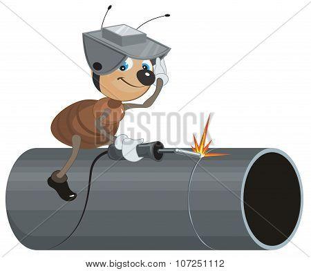 Ant Welder welds pipe