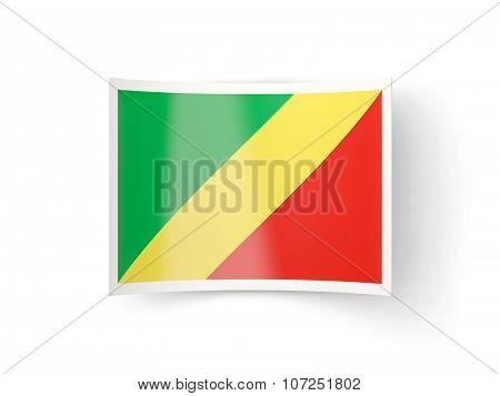 Bent Icon With Flag Of Republic Of The Congo