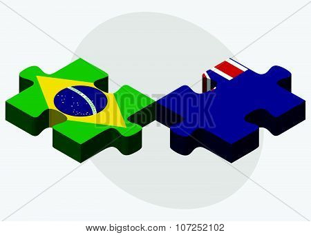 Brazil And Falkland Islands Flags