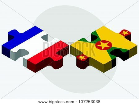 France And Grenada Flags