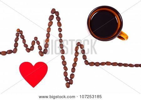 Cardiogram Line Of Coffee Grains, Cup Of Coffee And Red Heart, Medicine And Healthcare Concept