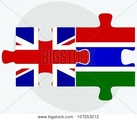 United Kingdom And Gambia Flags