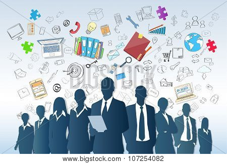 Business People Group Silhouette Doodle Hand Draw Sketch