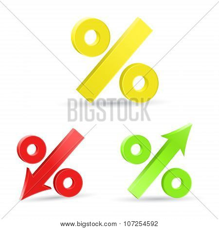 Percent Colored Abstract 3D Signs