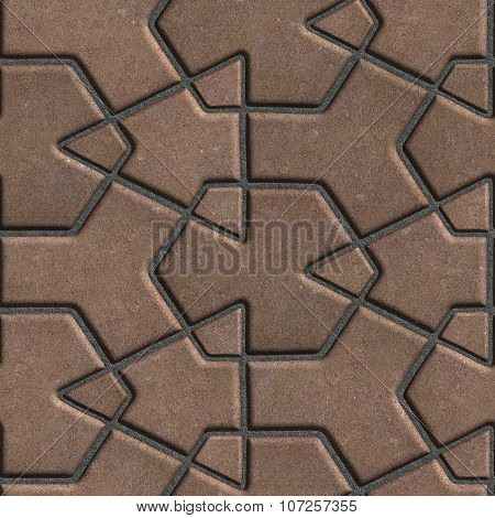 Brown Paving Slabs Built of Crossed Pieces a Various Shapes.