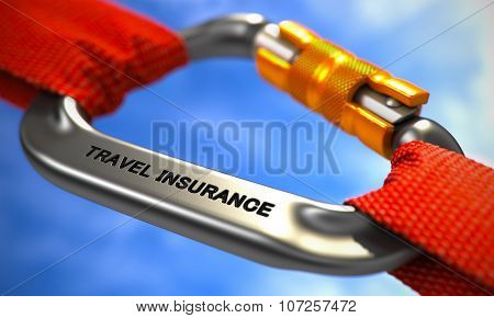 Travel Insurance on Chrome Carabine with Red Ropes.