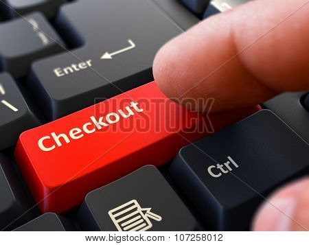 Press Button Checkout on Black Keyboard.