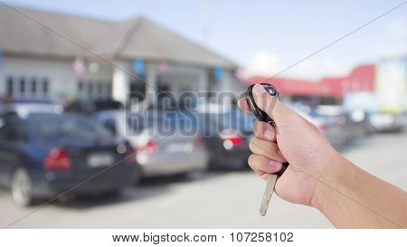 Remote Car With Blur Car Park For Use As Background