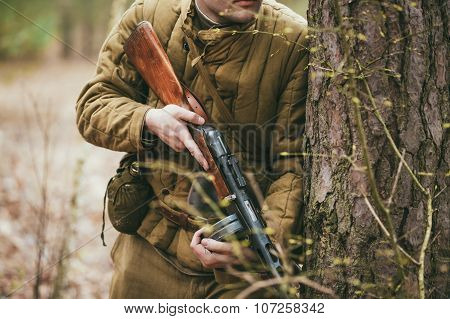 Unidentified re-enactor dressed as Soviet soldier in camouflage