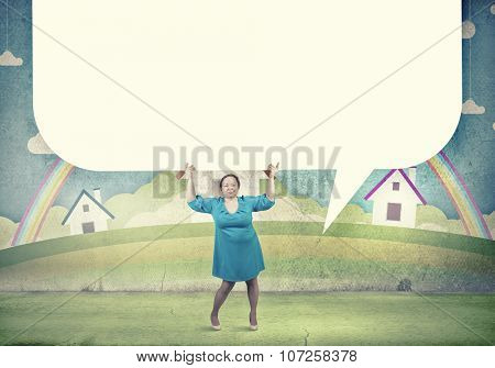 Stout woman of middle age with blank white banner