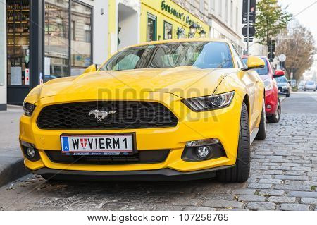 Bright Yellow Ford Mustang 2015 Car