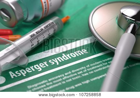 Asperger syndrome - Printed Diagnosis. Medical Concept.