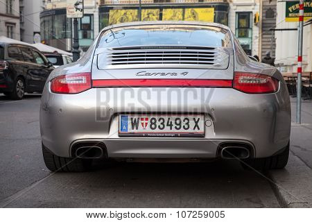 Siilver Gray Porsche 911 Carrera 4 Car, Rear View